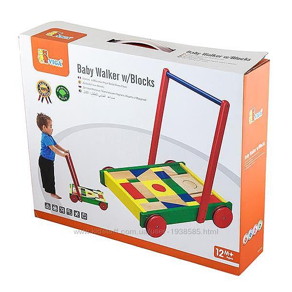 RCS Детские ходунки-каталка Viga Toys Тележка с кубиками 50306B люкс качество и гарантия