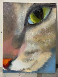Картина маслом на холсте Кошка.