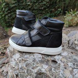 Демисезонные кожаные ботинки на липучках Птичка 24-35р.