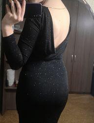 Продам чёрное вечернее платье в пол с разрезом сзади HM