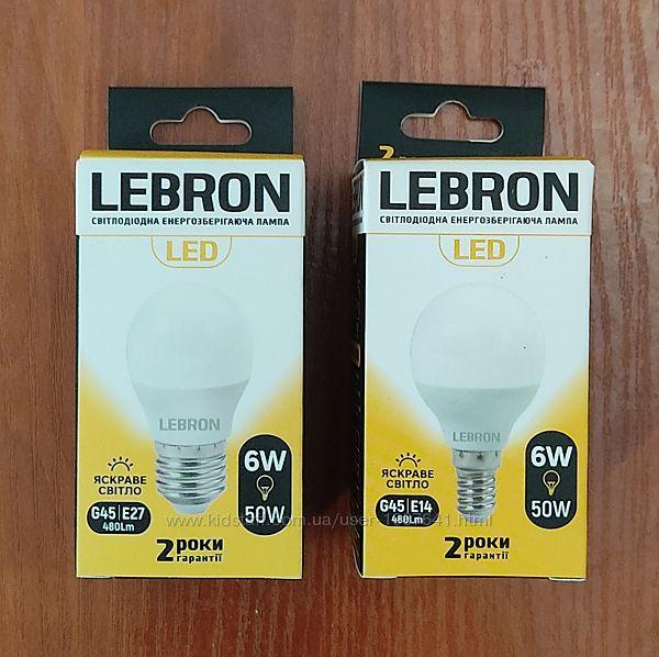 Светодиодная LED лампа LEBRON L-G45, 6W, Е27/Е14, 4100K, 480Lm, угол 240
