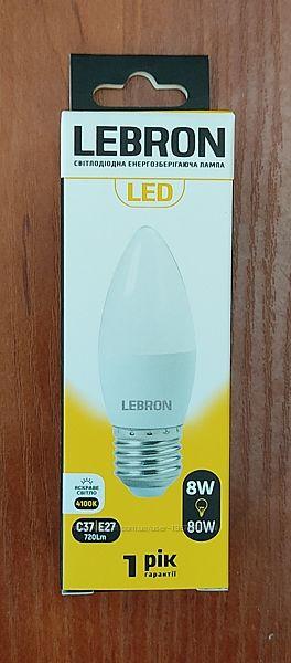 Светодиодная LED лампа LEBRON L-С37, 8W, Е27/Е14, 4100K, 720Lm, угол 240
