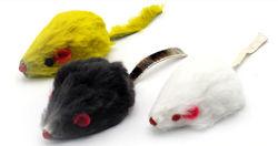 Мышка меховая малая, 3 цвета - серая, белая и розовая 5 см на 2 см
