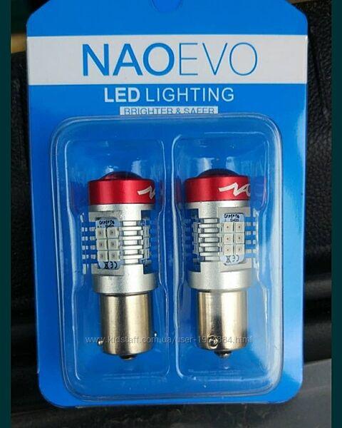 Led лампа p21w красный цвет 1300lm 12v в стопы