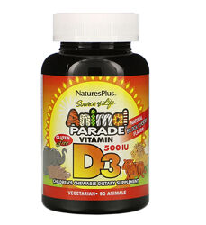 Витамин D3 детский 500МЕ Animal Parade 90таблеток Д3
