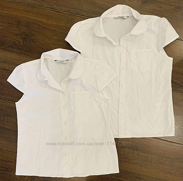 Блузка белая George школьная, короткий рукав