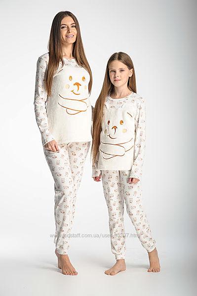 Флисовая пижама плюшевый кигуруми велюровый комплект Family look мама-дочка