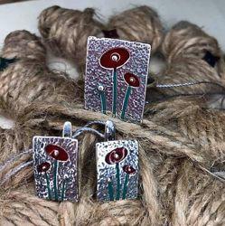 Гарнитур Маки, серьги и кольцо серебро эмаль