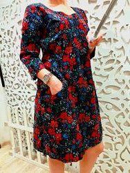 платье женское вельветовое бренд SEASALT M UK12 Британия теплое цветное