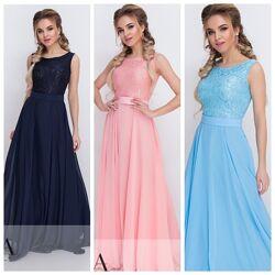 Нежное очаровательное вечернее платье в пол