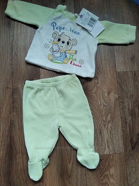 Велюровый костюмчик Chicco для новорожденных р.50см