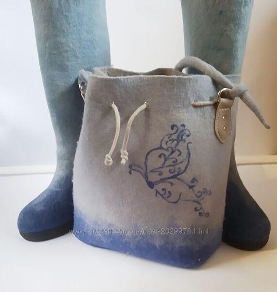 Комплект сумочка и сапожки из мериноса