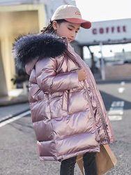 Детский подростковый натуральный пуховик. Зимнее пальто. 120-170