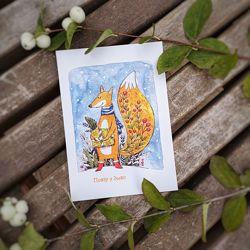 Зимние открытки, листівки