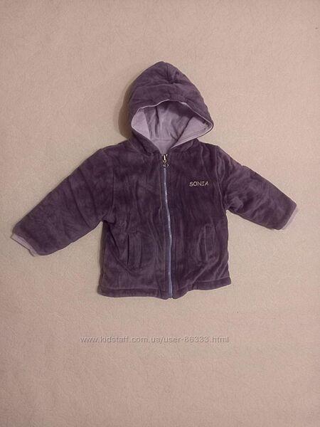 Двусторонняя велюровая куртка р 98-104