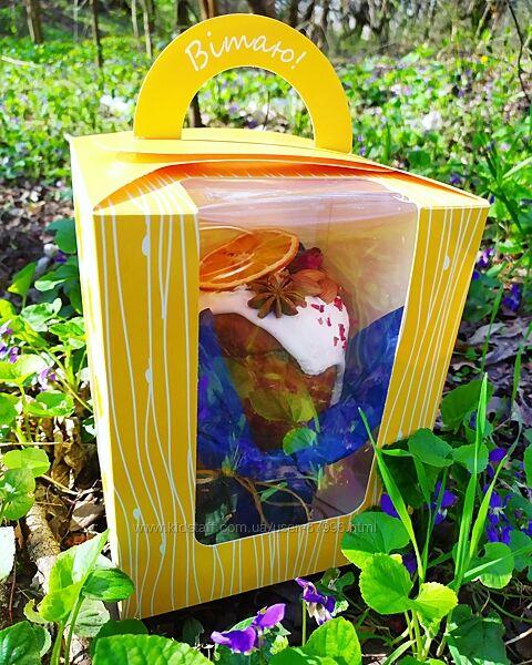 Пасхальная упаковка. Коробки с цыплятами для куличей с окошком 161620см