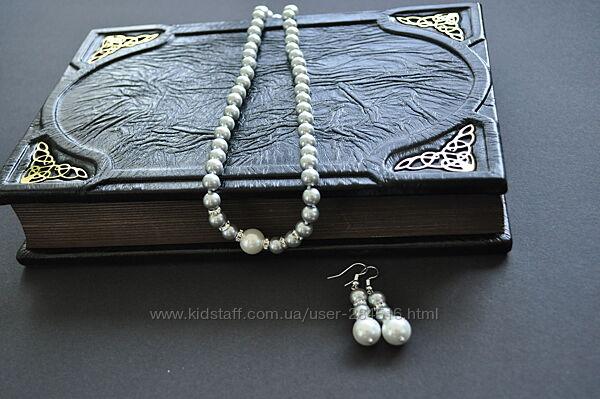 Комплект украшений из ожерелья и сережек, натуральный морской жемчуг