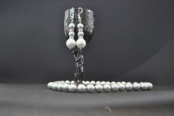 Комплект украшений из ожерелья и сережек, морской жемчуг