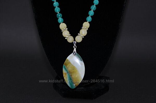 Комплект из ожерелья и сережек, натуральный агат, цитрин и аквамарин