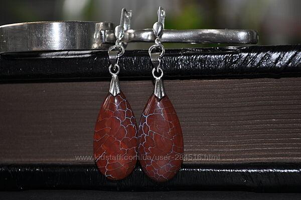 Серьги и ожерелье из агата