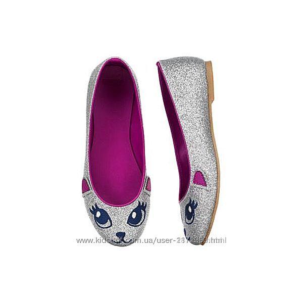 Туфли балетки туфельки серебристые котики Gymboree р.2 стелька-21,5см