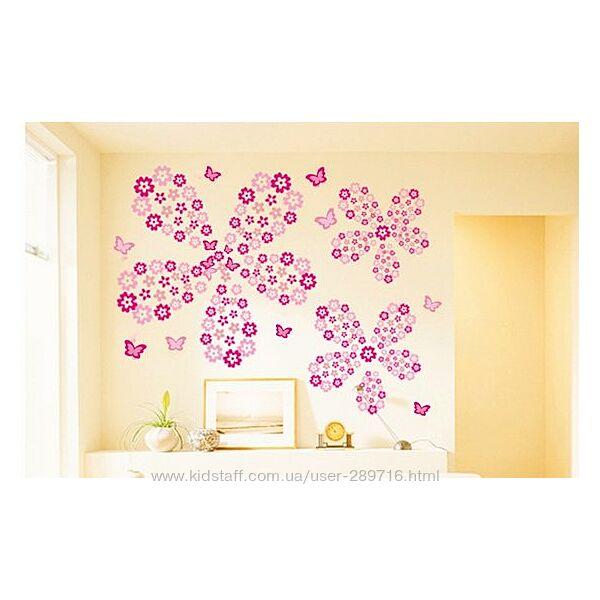 Наклейки для декора интерьера цветочки на стены и мебель